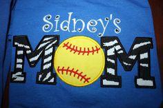 Personalized Softball Mom Shirt. $25.00, via Etsy.