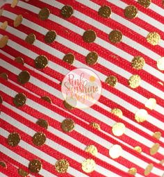 "White Stripes and Gold Polka Dots on Red 5/8"" Fold Over Elastic by the Yard - 1, 3 or 5 yards by PinkSunshineSupplies on Etsy"
