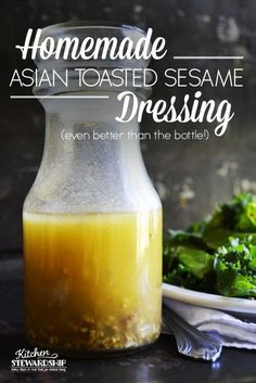 Asian Toasted Sesame Dressing Recipe. This dressing will surprise you with taste and clean ingredients. Don't buy a bottle at the store any more - just stock your pantry with dressing ingredients!