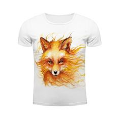 14.88$  Watch now - http://difbw.justgood.pw/go.php?t=188220201 - White Round Neck Cool Wolf Head Pattern Slimming Men's Short Sleeves 3D T-Shirt