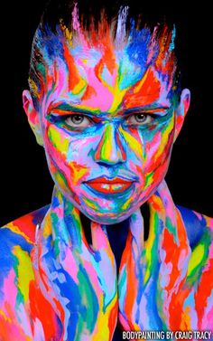"""Craig Tracy Painted Alive Bodypainting - """"Where One"""" Craig Tracy, Illusion Art, First Art, World Of Color, Woman Painting, Face Art, Rainbow Colors, Bright Colors, Art Paintings"""