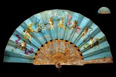 Objects Of Desire (Fans) Folding fan with gilt mother of pearl monture & painted leaf, signed 'E.' French, c. Fan (Brisé) Date:. Antique Fans, Vintage Fans, Hand Held Fan, Hand Fans, Chinese Fans, Art Google, Color Schemes, Miniatures, Museum