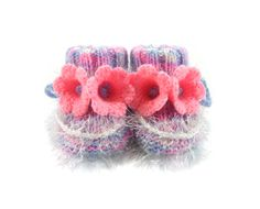 Baby Booties with Crochet Bell Flowers - Pastel Colors, 3 - 6 months