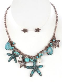 AGED FINISH METAL SEALIFE NECKLACE AND EARRING SET - FREE SHIPPING