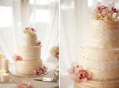 Ivory and Pink Wedding Cake. Love the lace and cymbidium orchids :)