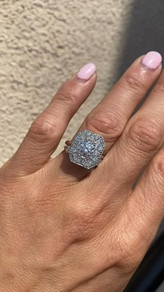 Round and trillion diamond mosaic ring by berlinger Vintage Inspired Engagement Rings, Platinum Engagement Rings, Diamond Rings, Diamond Cuts, Vintage Rings, Vintage Jewelry, Art Deco Diamond, Lab Diamonds, Metal Bands