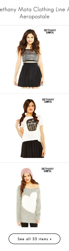"""""""Bethany Mota Clothing Line At Aeropostale"""" by amyxox101 ❤ liked on Polyvore featuring bethanymota, aeropostale, skirts, bethany mota, outfits, dresses, skater skirt, black, holiday skirts and aéropostale"""