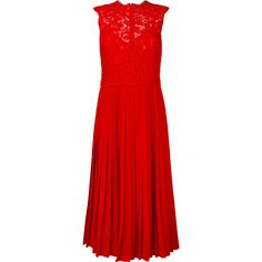 Valentino Heavy Lace Pleated Midi Dress ($4,980) ❤ liked on Polyvore featuring dresses, sleeveless lace dress, mid calf dresses, red dress, midi dress and valentino dress