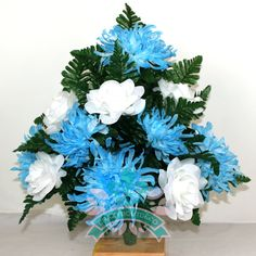 Gorgeous White Roses with Blue Spider Mums Spring Cemetery Arrangement For Mausoleum by Crazyboutdeco on Etsy