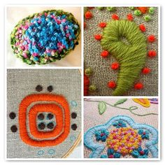 mosaic ~ crewel french knots