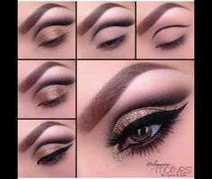 "Take a look at this amazing pictorial, Isn't it gorgeous? We love it!  Start by drawing a line  using Motives Khol eyeliner in Black. ""Onyx"" eye shadow apply it over top. Take ""Bronze Beauty"" eyeshadow and apply all over the lid, staying underneath the crease. With a damp brush, apply ""24k gem dust"" over the lid staying underneath the crease. Apply to the inner tear duct as well. Using ""Little black dress gel liner"" apply a dramatic winged liner. Take ""Onyx"" and smudge underneath the lash…"