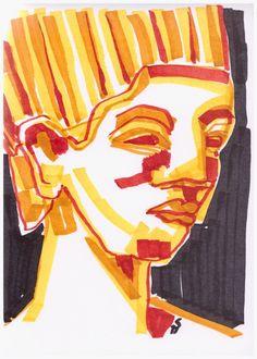 Drawing Art Marker Norfretete (c) Zeichnung mit Marker von Susanne Haun