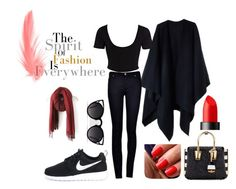 """Black n red girls simple style"" by sfrgtrr on Polyvore featuring art"