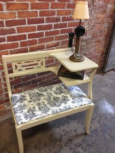 Vintage gossip bench, telephone chair , phone table , home furnishings , gifts