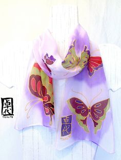 Hand painted silk scarf. Silk Scarves Takuyo. Kimono Chibi Silk Scarf. Japanese. Pastel Purple Butterflies. Silk Chiffon. Silk Dye. 7x50 in.. $48.00, via Etsy.