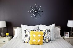 One of My Favorite Bedrooms Love the dark gray wall and scheme balanced by the yellow....