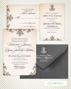 I like the monogram, simplicity, the mix of cursive and uppercase manuscript, and the cursive is still legible Wedding Paper, Wedding Cards, Our Wedding, Dream Wedding, Wedding Bells, Wedding Stationary, Wedding Invitations, Vintage Invitations, Dinner Invitations