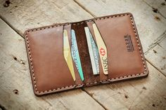 Personalized Leather fold wallet for cards & cash; Women's card holder, Men's Credit card case, Slim wallet, Men Slim card holder (04)
