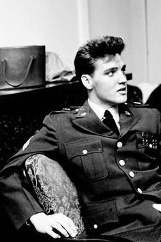 Elvis photographed by James Whitmore during an interview in Bad Nauheim, West Germany, February 29, 1960.