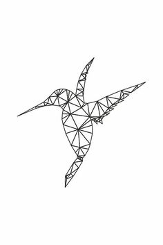 35 Ideas Origami Dessin Colibri For 2019 Geometric Drawing, Geometric Art, Geometric Sleeve, Geometric Tattoos, Art Colibri, String Art Diy, Hummingbird Art, Geometric Hummingbird Tattoo, String Art Patterns