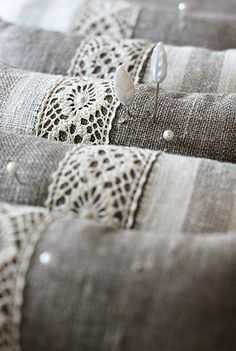 linen and lace pincushions