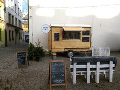 www.kurtos-kalacs.com A simple design in wood is the perfect kind of food trailer to sell #kurtokalacs / #chimneycake  from.