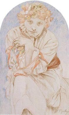 Alfons Mucha Envisage Drawing, Pastel