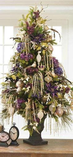 i love little trees all around the house at Christmas . . .