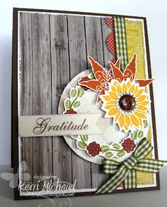 PTI Simple Sunflower, Fall Elegance, Verve Harvest Blessings  Paper: My Mind's Eye Miss Caroline Dilly Dally  Ink: SU Chocolate Chip, Old Olive, Really Rust, PTI Summer Sunrise, Copics  Accessories: Gingham Ribbon, Circle Nestabilities, MFT Die-namics Medium Scallop Border Die, Sewing Machine, Tim Holtz Distress Tool, Button, Foam Squares