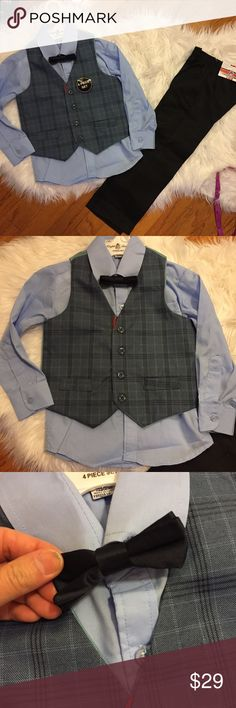 English laundry 4T boy 4pc suit set All new. In perfect new condition. NWT. 4 pc set for 4T Boy. Dress shirt, bow tie, vest and pants. No trades. English Laundry Matching Sets