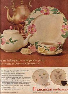 Desert Rose (vintage handmade in California by Franciscan Ware) Vintage Dishware, Vintage Dinnerware, Vintage Plates, Vintage Dishes, Vintage Pottery, Vintage Ads, Vintage Kitchen, Vintage China, Vintage Stuff