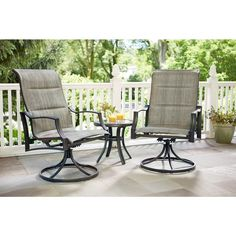 Hampton Bay Statesville Padded Sling Patio Lounge Swivel Chairs 2 Pack