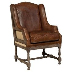 Grosvenor Sicily Chair Vintage Brown Cigar Leather Club Chair Pub Chair Accent Chair Deconstructed Back & Sides Hand Carved Office Chair- $1,400.00