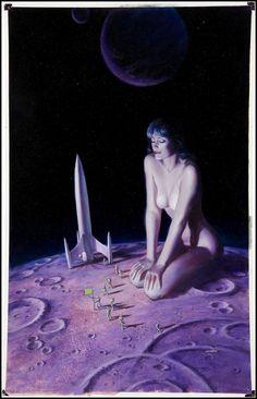 Joe Chiodo's cover art for 3-D Alien Worlds #1, July 1984