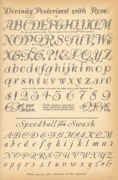 """""""Divinity"""" Posterized with Rose & Speedball Swash vintage script alphabets ~ Speedball Letting (1957), Ross F. George"""
