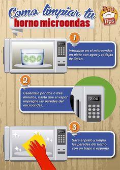 Cómo limpiar tu microondas en tres pasos. #DoitTip #Microondas #Limpieza #tips