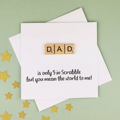 Scrabble Father's Day card for Dad Scrabble tile card | Etsy Dad Birthday Card, Birthday Messages, Handmade Birthday Cards, Happy Birthday Cards, Greeting Cards Handmade, Baby Girl Cards, New Baby Cards, You Mean The World To Me, Hand Logo