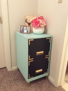 Filing cabinet makeover! Black chalkboard paint on the drawers!