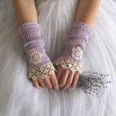 Related Objects like Nostalgia Lengthy Crochet Fingerless Lace Bridal Gloves in Lilac and Ivory Cream on Etsy Knitting Patterns Crochet Gloves Pattern, Lace Knitting Patterns, Crochet Lace, Lace Gloves, Knitted Gloves, Lace Bridal, Fingerless Mittens, Crochet Bracelet, Wrist Warmers