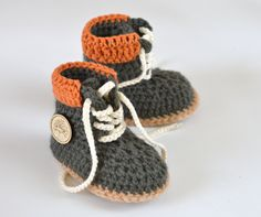 CROCHET PATTERN Boots for Baby Boys Timberland Style Boy Booties Pattern 3 Sizes Photo Tutorial Instant Download Digital File         April 21, 2015 at 06:16PM