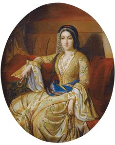 portrait of the actress mlle rachel in the role of roxanne for the french school young w in turkish costume oil on canvas 34 x 28