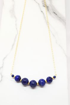 27e97d2ae Blue Lapis lazuli graduated bar necklace/ Dainty gold filled gemstone  necklace/Layering birthstone bar necklace/Statement Gift for her Mom