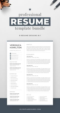 Professional resume template bundle with 8 designs that fit various needs: Clean, modern resume with a neutral look, perfect for any occasion. Compact resume that you can fill with a lot of content. Resume with a monogram for added visual impact. Resume with a photo in case you need it. And more. Build a resume that is informative, visually attractive, easy to navigate, and showcases your skills and experience in an elegant and effective way. One Page Resume Template, Modern Resume Template, Creative Resume Templates, Creative Cv, Cover Letter For Resume, Cover Letter Template, Resume References, Microsoft Word 2007, Planning Budget
