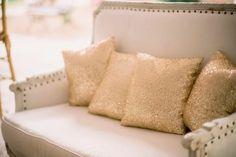 Sweetgrass Social wedding at Legare Waring House. Amanda & Matt. Gold lounge and pillows.