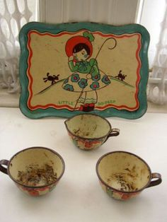 1930s Ohio Art Little Bo Peep 4 PC Child's Tin Tea Set