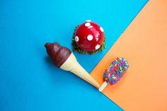BIG GAY ICE CREAM collaboration. FAIRY BREAD PADDLE POP: toast and butter gelato dipped in fairy bread sprinkles   SALTY PIMP CONE: vanilla gelato, dulce de leche & sea salt dipped in milk chocolate   DR EVIL'S MINI MAGIC MUSHROOM: dark chocolate gelato, dulce de leche & peanut cookies glazed with red ganache and white chocolate buttons. #biggayicecream