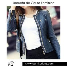 Jaqueta de Couro Feminina. Mais de 70 modelos em até 10x Sem Juros e Frete Grátis!  www.camisariarg.com/jaqueta-de-couro-feminina-perfecto-azul-59b.html