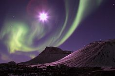 Aurora borealis dancing with the moon ∞L♡VE∞★.¸¸☆¸¸.★*´☽ ♥
