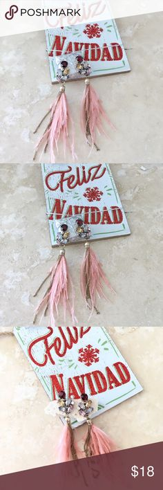 """💝💕Feather drop earrings multicolor stones Feather drop earrings multicolor stones studs  Pair of feather tassel earrings feather drop earrings feature with mixed stones and chains. Length 4.75"""".   Pushback closure.   FREE WITH PURCHASE: Cute little organza drawstring pouch for storage or for gifting  🛍Bundle & Save!! 10% 3+ items  💞No Trades MischkaPu Jewelry Earrings"""
