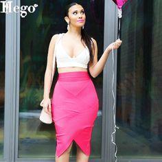 HEGO 2015 Women New Irregular Brand Bandage Formal Skirt Knee Length With Free Shippping H1161